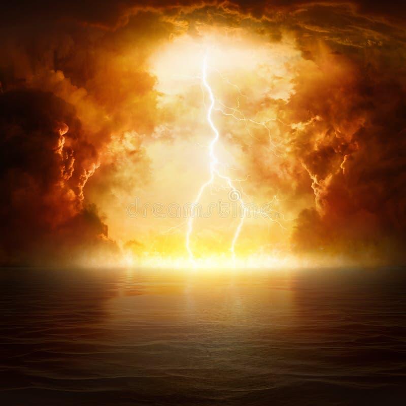 Apokalyptischer religiöser Hintergrund - Höllenreich, Ende der Welt stockbild