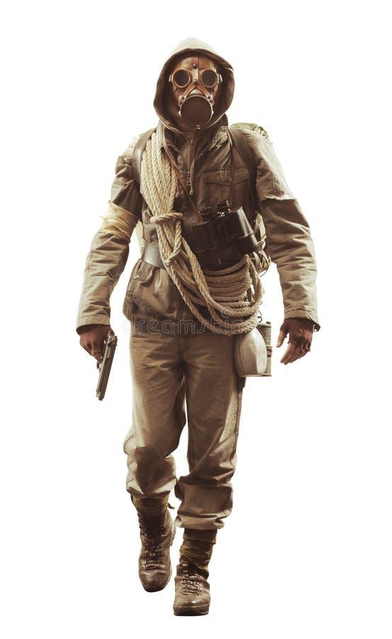 Apokalyptisk överlevande för stolpe i gasmask arkivbild