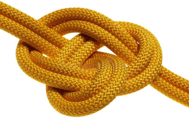 Apokrypher Knoten auf doppeltem gelbem Seil lizenzfreies stockfoto