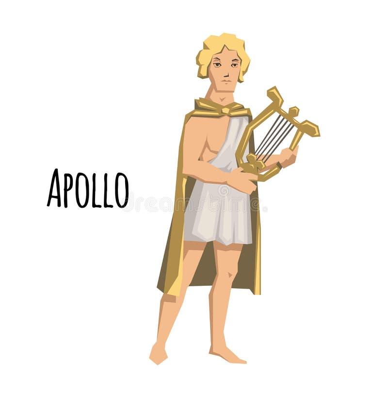 Apollo, altgriechischer Gott des Bogenschießens, der Musik, der Poesie und der Sonne mit Leier mythologie Flache Vektorillustrati vektor abbildung