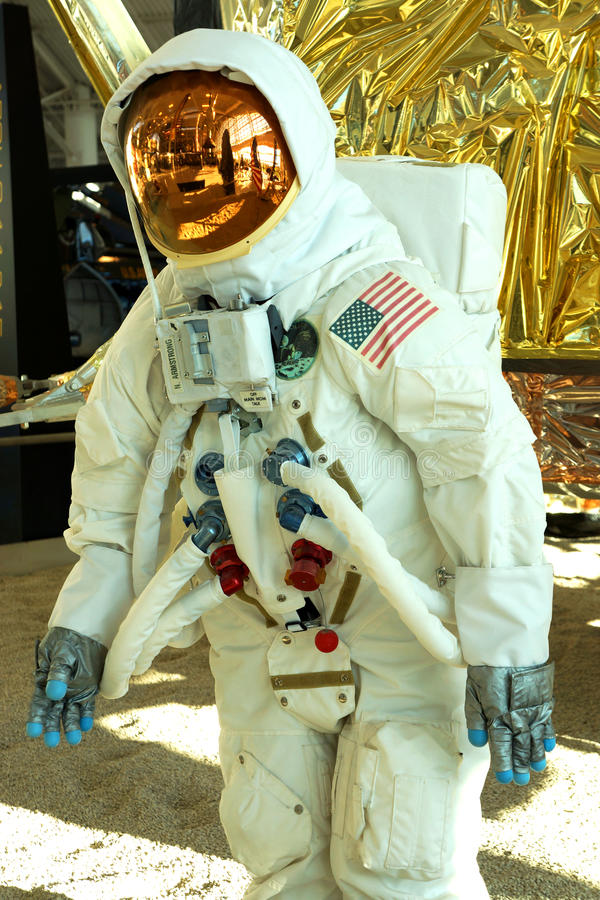 Apollo 11 astronaut space suit. This Apollo 11 space suit and lander is in the Evergreen Aviation Museum in McMinnville, Oregon royalty free stock photo