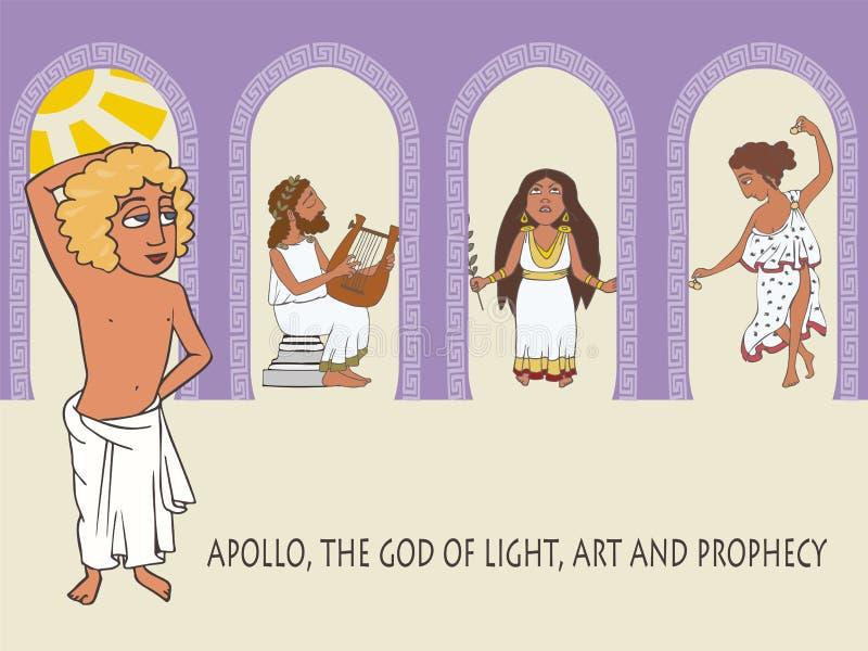 Apollo bóg słońce muzyka i proroctwo, ilustracja wektor