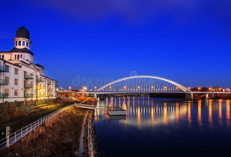 Apollo bridge in Bratislava Harbour building, Slovakia royalty free stock photography