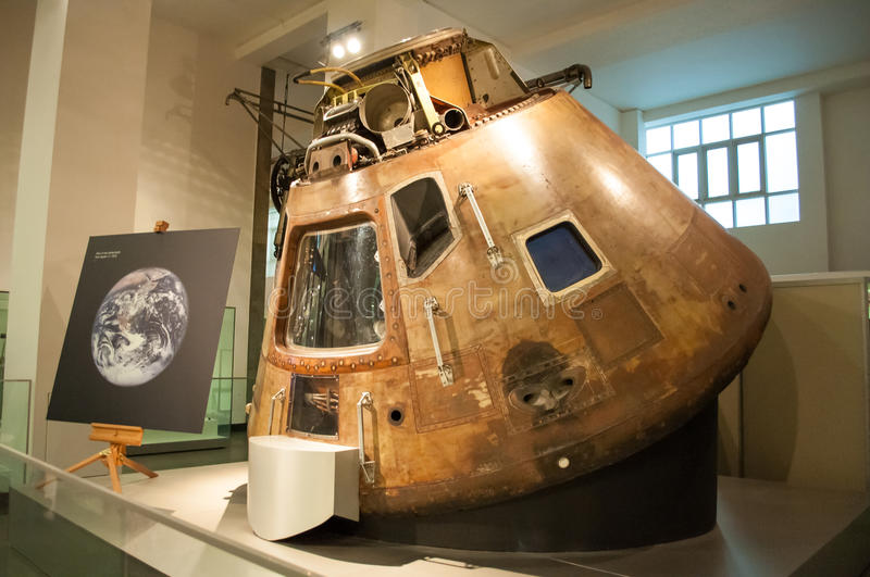 Apollo 10 Command Module in London's Science. Apollo 10 was the fourth manned mission in the United States Apollo space program. Launched on May 18, 1969.Apollo stock photography