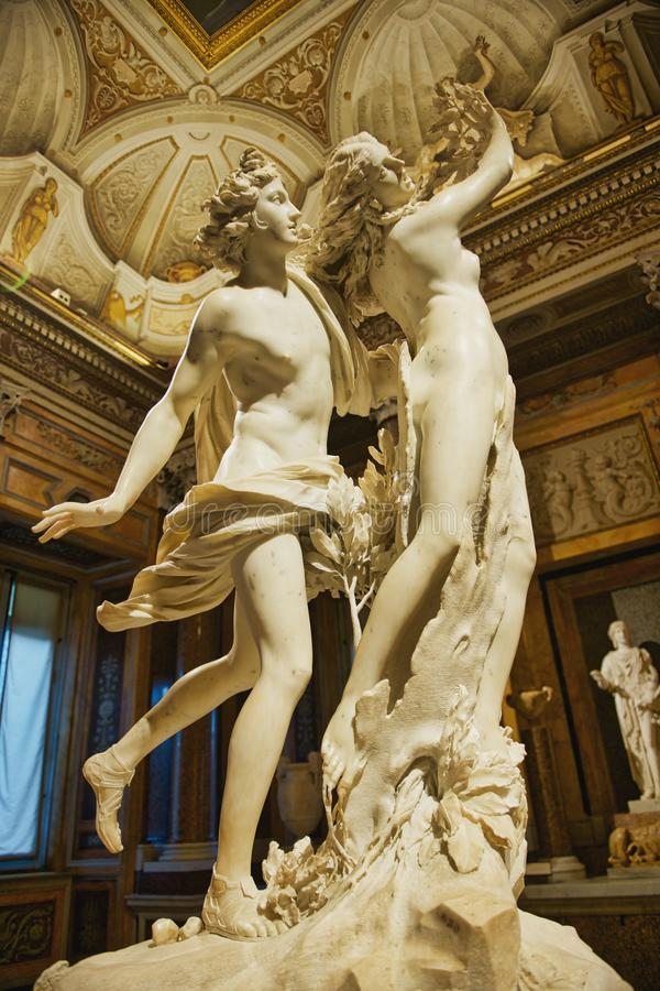 Apollo and Daphnis at the Villa Borghese. Apollo and Daphnis by the sculptor and artist Bernini. Made of marble in 1622-25it is housed in the famous Villa royalty free stock photography