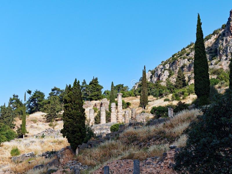 apollo delphi greece tempel arkivfoton