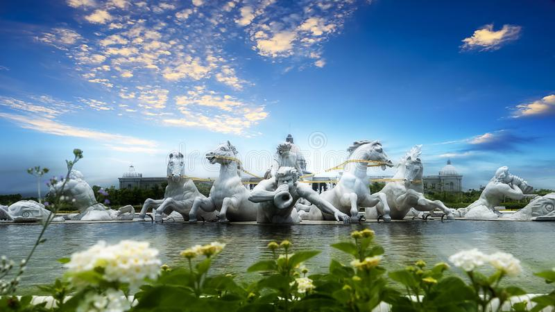 Apollo Fountain Plaza of Chimei art Museum in Tainan City, Taiwan. The statues are made of Italian Carrara marble. Tainan City, Taiwan - 2018 June 12th: The stock images