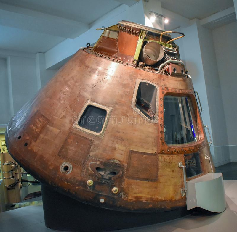 Apollo 10 kommandoenhet 1969 i vetenskapsmuseet royaltyfria bilder