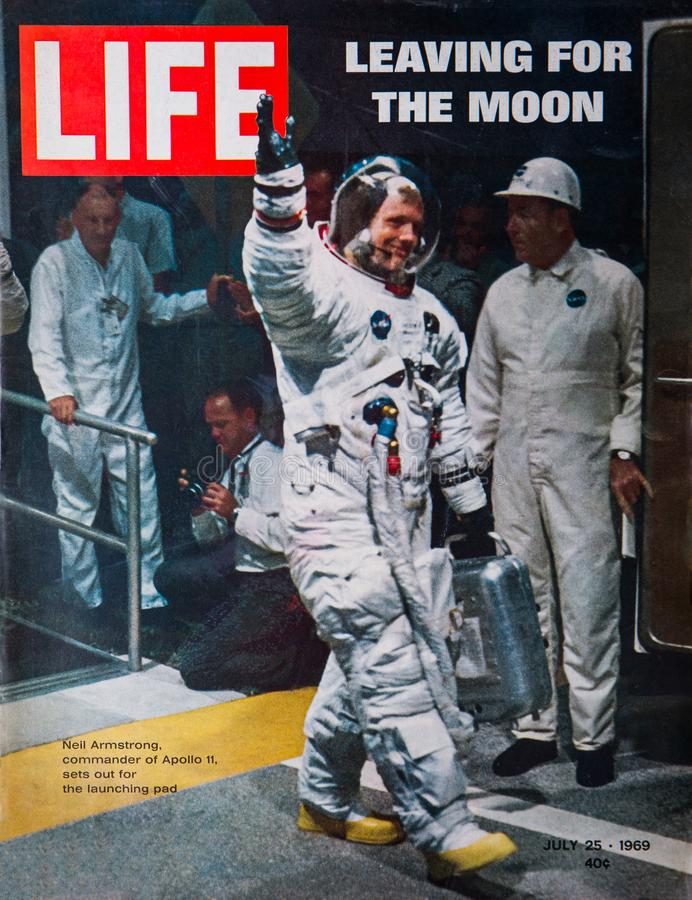 Apollo 11 Moon Landing Life Magazine Cover. The cover of the July 25, 1969, Life Magazine, reporting on Apollo 11, the first manned mission to land on the moon royalty free stock image