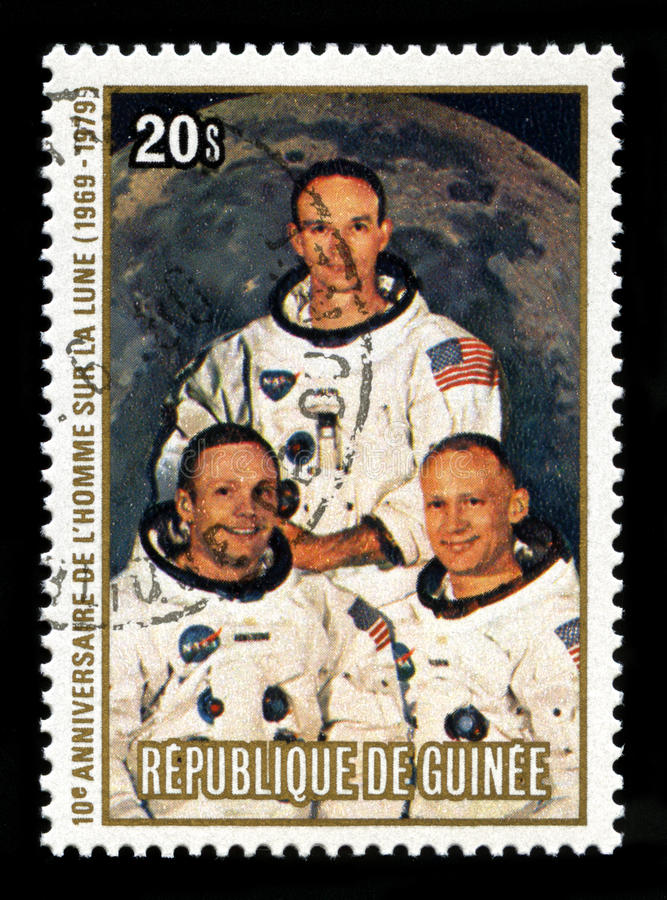 Apollo 11 Moon Landing. REPUBLIC OF GUINEA - CIRCA 1979: A postage stamp from the Republic of Guinea commemorating the 10th Anniversary of the Apollo 11 Moon royalty free stock image