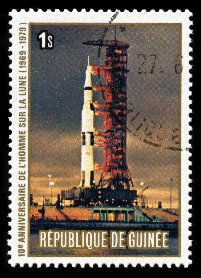 Apollo 11 Moon Landing. REPUBLIC OF GUINEA - CIRCA 1979: A postage stamp from the Republic of Guinea commemorating the 10th Anniversary of the Apollo 11 Moon royalty free stock images