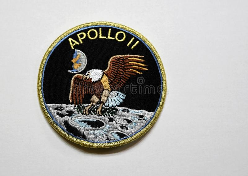 Apollo 11 Moon Mission patch. The 50th anniversary of the Apollo moon landing is 2019. The lunar lander was called the Eagle and the mission patch shows an eagle stock photography