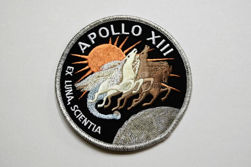 Apollo 13 Moon Mission patch. The 50th anniversary of the Apollo moon landing is 2019. Apollo 13 was to be the third lunar landing in 1970 but an explosion of stock images