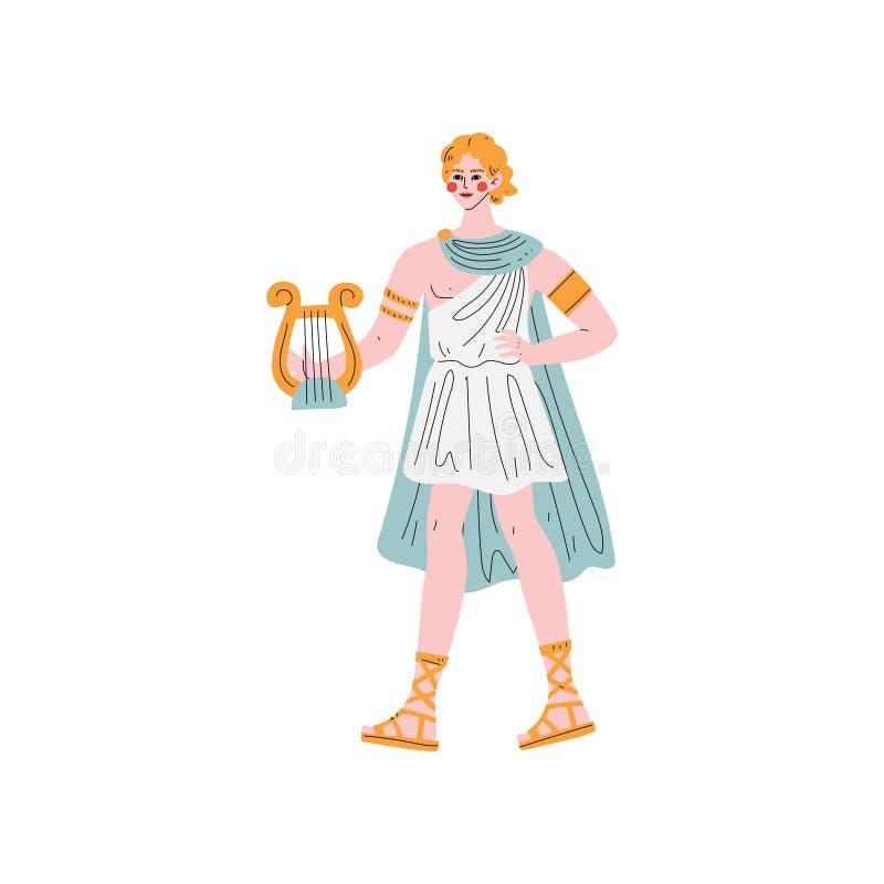 Apollo Olympian Greek God, altes Griechenland-Mythologie-Held-Vektor-Illustration vektor abbildung