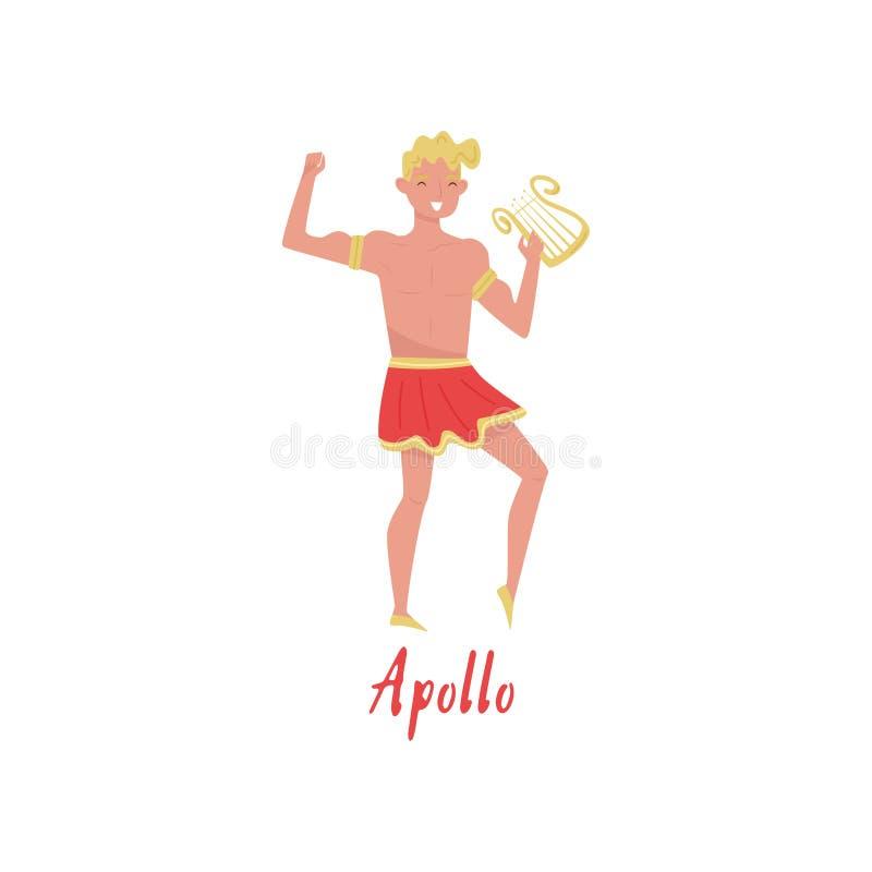 Apollo Olympian Greek God, illustration de vecteur de personnage de dessin animé de mythes de Grèce antique sur un fond blanc illustration stock
