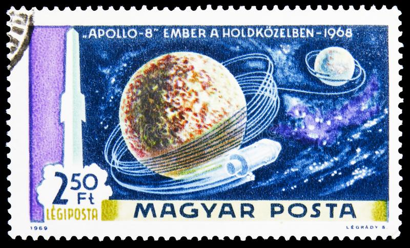 Apollo 8 in Orbit around Moon, Airpost, Moon Landing Issue serie, circa 1969. MOSCOW, RUSSIA - JUNE 19, 2019: Postage stamp printed in Hungary shows Apollo 8 in stock image