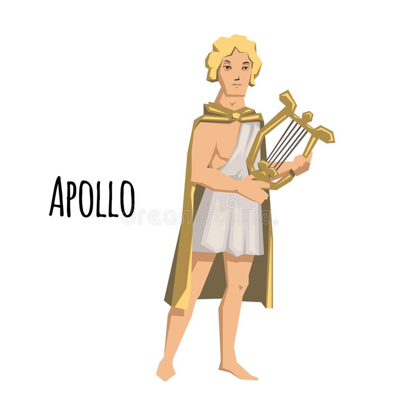 Apollo, oude Griekse god van boogschieten, muziek, poëzie en de zon met lier mythologie Vlakke vectorillustratie Geïsoleerde vector illustratie