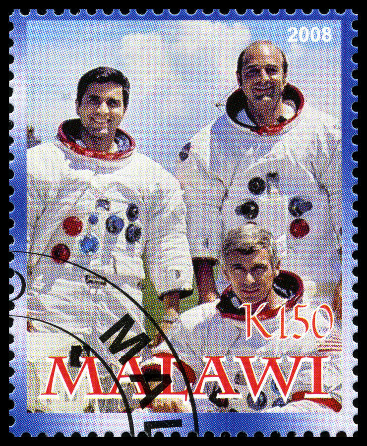 Apollo 17 Postage Stamp from Malawi royalty free stock image