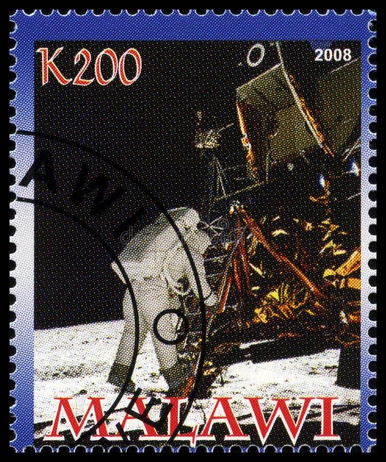 Apollo 11 Postzegel van Malawi stock afbeelding