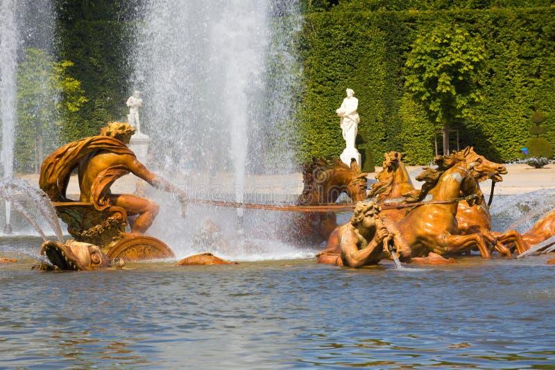 Apollo's fountain spraying water in Versailles royalty free stock photo