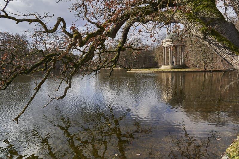 Apollo`s temple, Nymphenburg castle park, Munich Germany stock photo