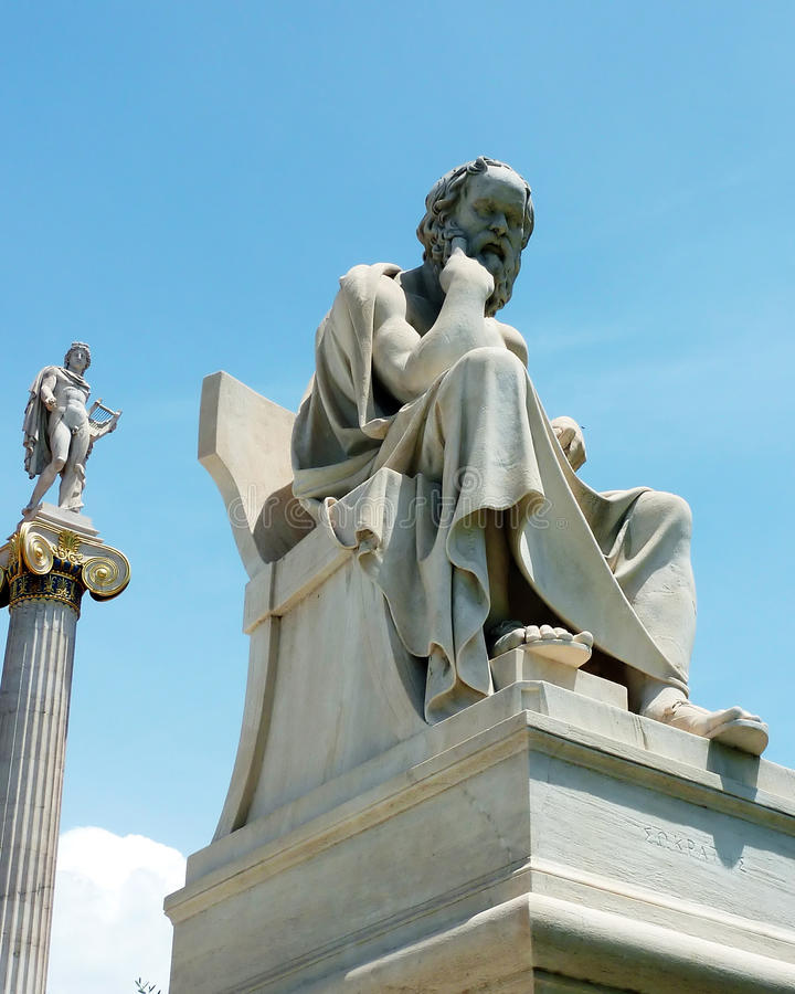 Apollo and Socrates statues. At the Athens national academy royalty free stock photo