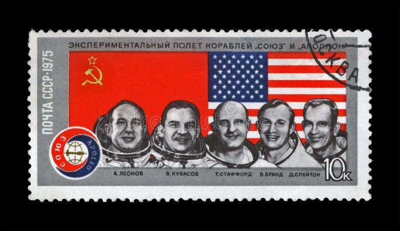 Apollo-Soyuz de astronauten van het Testproject, de 1st gezamenlijke V.S. en de vlucht van de USSR, circa 1975, stock foto
