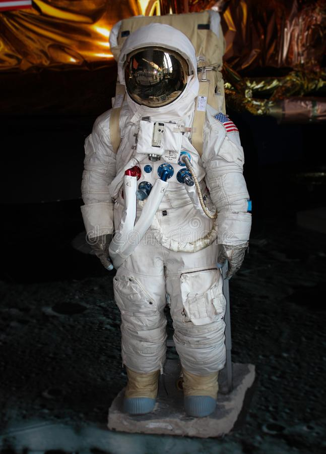 An Apollo Space Suit at the US Space Center in Huntsville. An Apollo space suit on display at the US Space Center located in Huntsville, Alabama stock photo