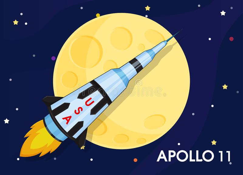 Apollo 11 The spacecraft was sent to explore the world`s first moons royalty free illustration