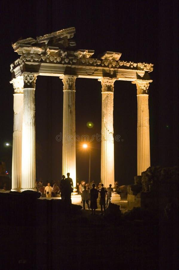Apollo-Tempel bis zum Nacht lizenzfreies stockbild