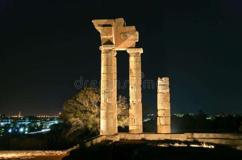Apollo Temple At The Acropolis Of Rhodes At Night, Greece Stock Images