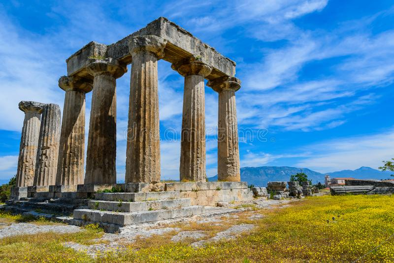Apollo Temple in ancient Corinth, Greece. The ruins of the Apollo Temple in ancient Corinth, Greece royalty free stock image