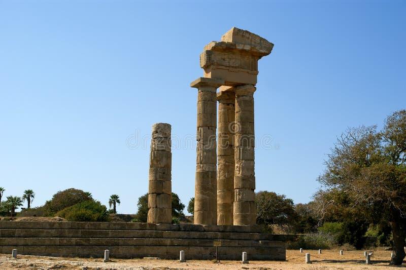 Apollo Temple bij de Akropolis van Rhodos, Griekenland royalty-vrije stock foto