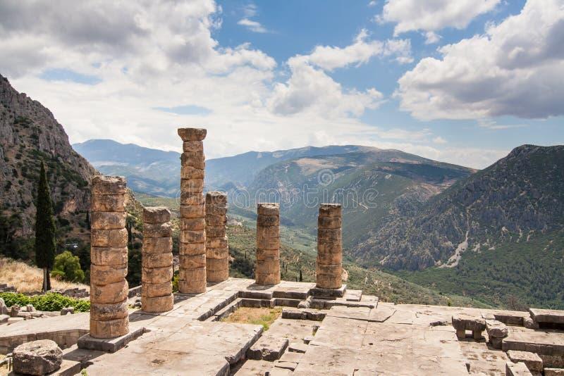Apollo Temple Delfi stockfotos