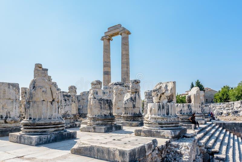 Apollo Temple at Didyma in Didim,Aydin,Turkey. Unidentified people visit and explore Apollo Temple at Didyma in Didim,Aydin,Turkey.22 August 2017 royalty free stock photo
