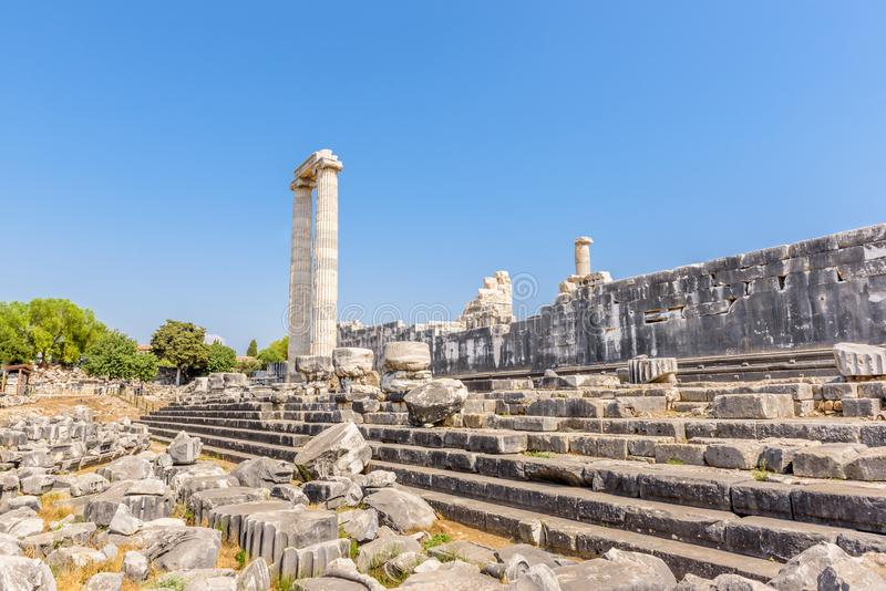 Apollo Temple at Didyma in Didim,Aydin,Turkey. View of gorgeous marble column pillars at Temple of Apollo at Archeological area of Didim, Didyma, Aydin Province stock images