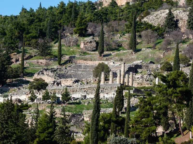Apollo Temple no oráculo Delphi, Grécia fotografia de stock