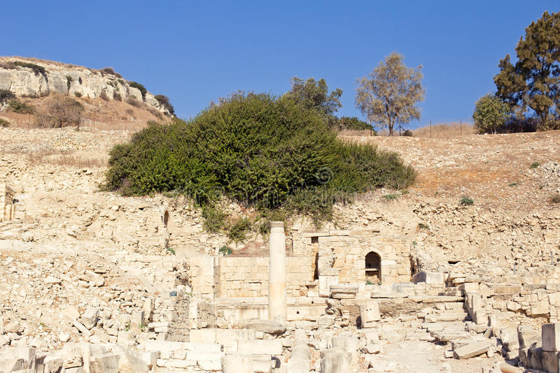 Apollo Temple and ruins at Amathus. One of the most ancient royal cities of Cyprus, on the east side of Limassol. Its age is almost 2000 years. Ruins and tree stock image