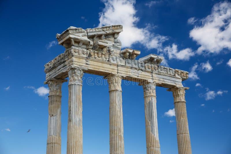 Apollo temple in Side. Ancient ruins Turkey stock photo