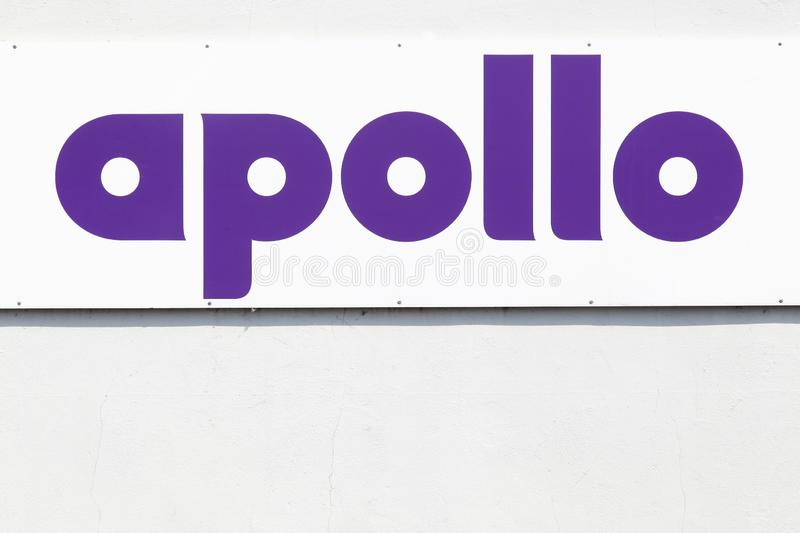 Apollo tyres sign on a wall. Apollo Tyres is the world`s 11th biggest tyre manufacturer royalty free stock image