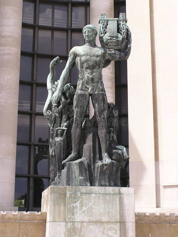 Apollon巴黎雕象 免版税图库摄影