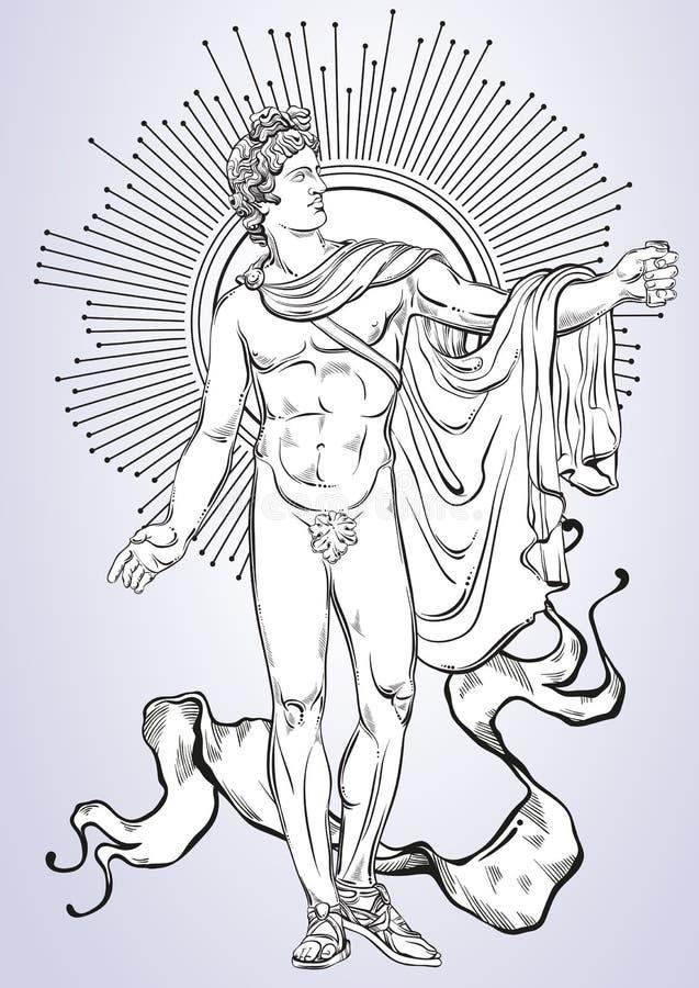 Apollon L'eroe mitologico della Grecia antica Bello materiale illustrativo disegnato a mano di vettore Miti e leggende Arte del t