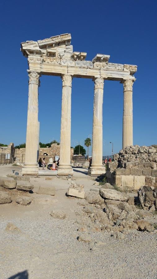 Apollon Tempel Side:) immagine stock