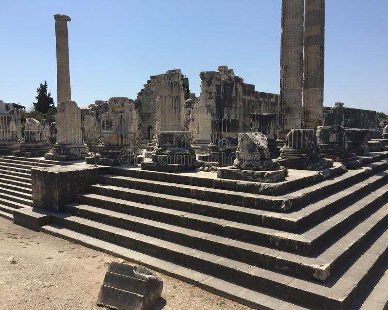 Apollon Temple histórico fotografia de stock