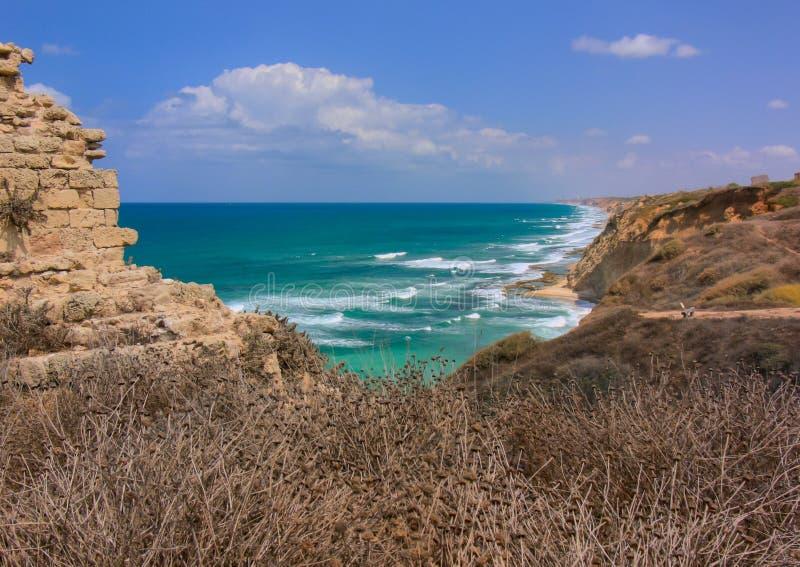 apollonia海滩以色列国家公园视图 免版税图库摄影