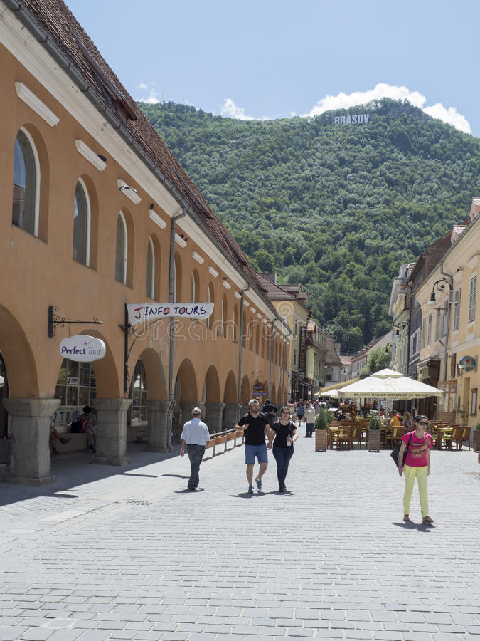 Apollonia Hirscher street in Brasov, Romania royalty free stock photography