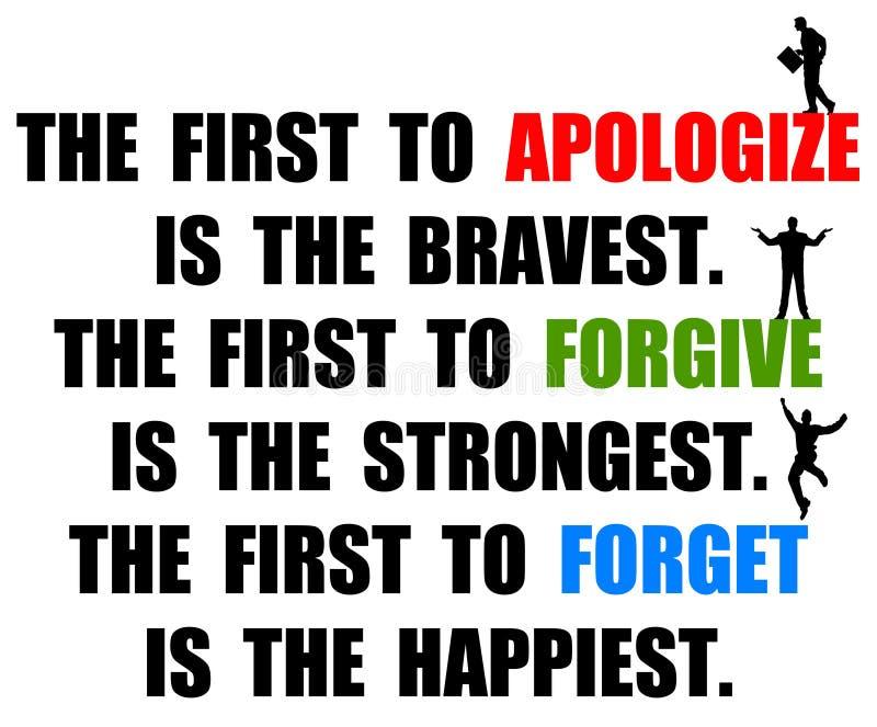 Apologize perdona olvida ilustración del vector