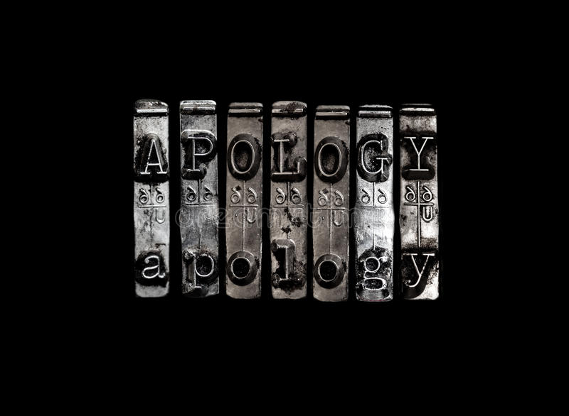 Apology concept. Apology or apologize concept sign royalty free stock image