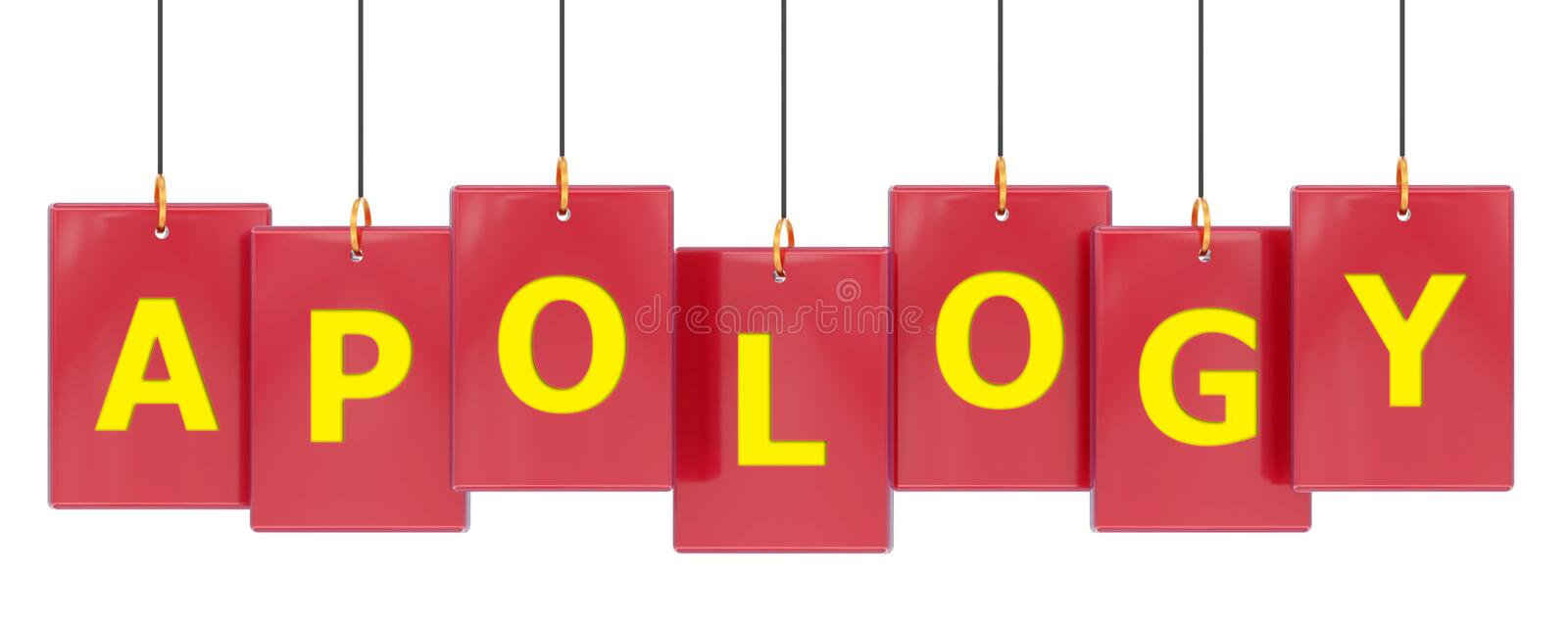 Apology tag banner. Apology 3d rendered tag banner , isolated on white background royalty free illustration