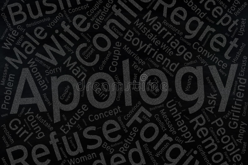 Apology ,Word cloud art on blackboard.  royalty free stock photography